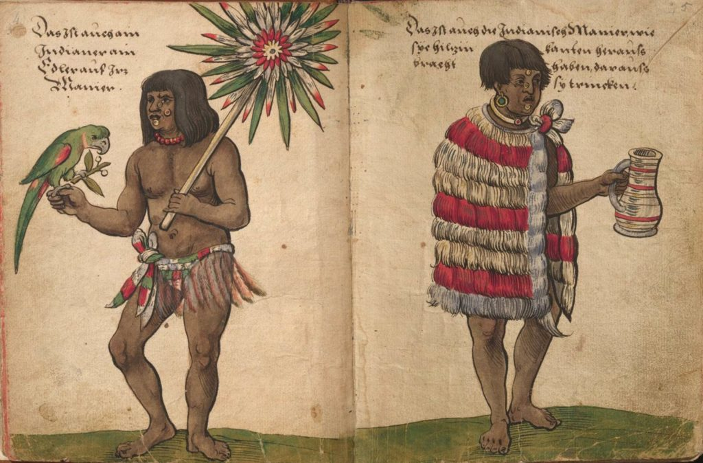two Aztecs in feather coats