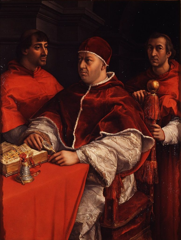 Portrait of pope  Leo X with the Cardinals by Raphael