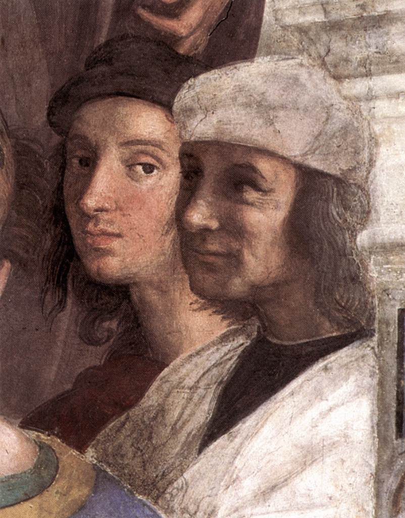 Selfportrait of Raphael in the School of Athens fresco in Vatican