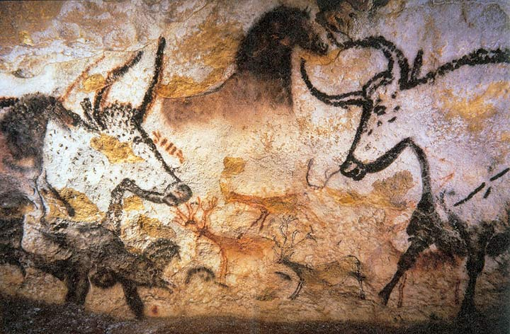Cave; painting in a cave; Lascaux; bison; horse